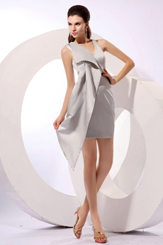 Modern V-Neckline Mini Length Silver Satin Cocktail Dress Under 100