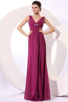 Elegance V-Neckline A-line Chiffon Dark Fuchsia Mother Of The Bride Gown