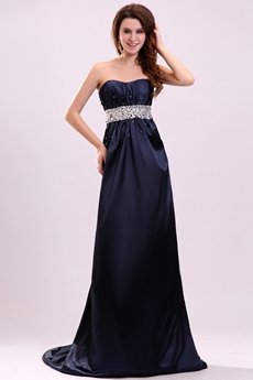 Exclusive Shallow Sweetheart A-line Dark Navy Prom Dress With Diamonds