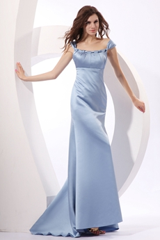 Trendy Scoop Neckline Full Length Baby Blue Satin Prom Dress