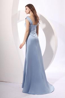 Trendy Scoop Neckline Full Length Baby Blue Satin Prom Dress
