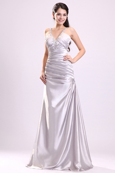 Showy V-Neckline Straps A-line Full Length Silver Satin Junior Prom Dress
