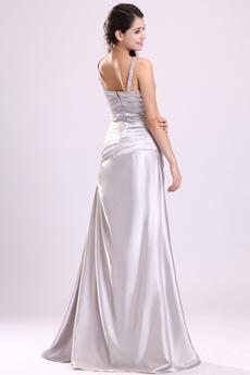 Showy V-Neckline Straps A-line Full Length Silver Satin Junior Prom Dress