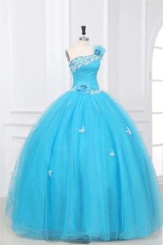Cute One Shoulder Ball Gown Blue Tulle Sweet 15 Dress With Appliques