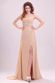 Delicate Single Straps A-line Floor Length Champagne Chiffon Graduation Dress