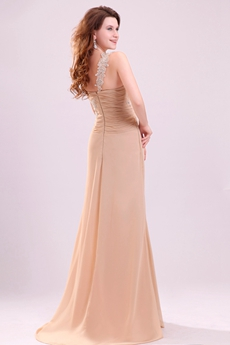 Delicate Single Straps A-line Floor Length Champagne Chiffon Graduation Dress