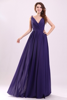 Plunge V-Neckline A-line Floor Length Violet Chiffon Engagement Evening Gown