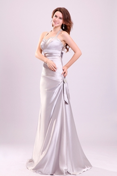 Exclusive Halter A-line Full Length Silver Satin Prom Gown