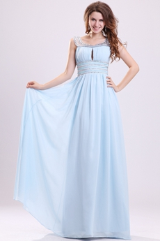 Dazzling Square Neckline A-line Full Length Sky Blue Prom Dress With Keyhole Bust