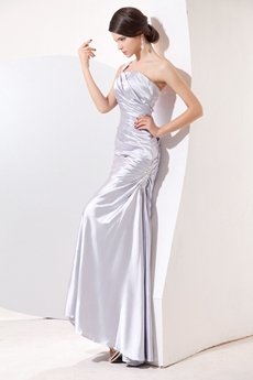 Classy One Straps Ankle Length Silver Gray Satin Prom Dress