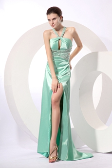 Sexy Straps Sage Satin High Slit Evening Gown