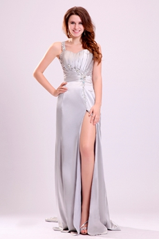 Sexy Asymmetrical Straps A-line Floor Length Silver Beach Wedding Dress