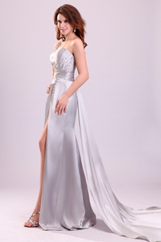 Sexy Asymmetrical Straps A-line Floor Length Silver Beach Wedding Dress
