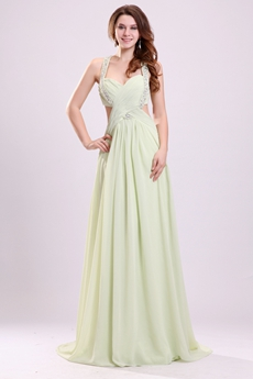 Mature Double Straps A-line Full Length Sage Chiffon Evening Maxi Dress