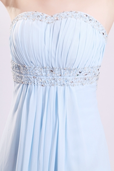 Pretty Sweetheart Empire Full Length Baby Blue Maternity Evening Gown