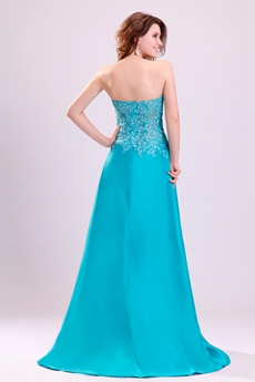 Sweetheart A-line Full Length Turquoise Evening Dress Front Slit