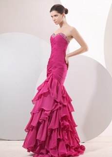 Impressive Sweetheart Trumpet/Mermaid Chiffon Fuchsia Prom Pageant Dress