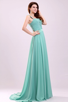 Exquisite Double Straps A-line Floor Length Tiffany Green Evening Dress