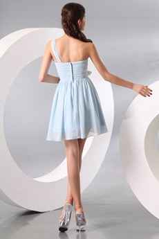 Inexpensive One Shoulder Mini Length Light Sky Blue Chiffon Cocktail Dress