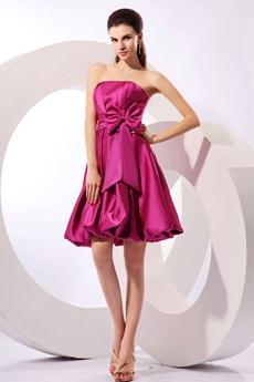 Dazzling Strapless Knee Length Fuchsia Homecoming Dress