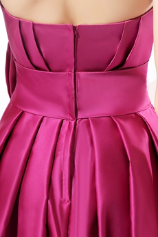 Dazzling Strapless Knee Length Fuchsia Homecoming Dress