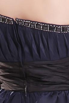 Chic One Shoulder Puffy Mini Length Dark Navy Homecoming Dress