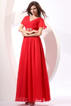 Short Sleeves Ankle Length Red Chiffon Prom Party Dress For Graduation