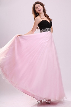 Lively Black And Pink Sweetheart A-line Floor Length Grad Dress For College