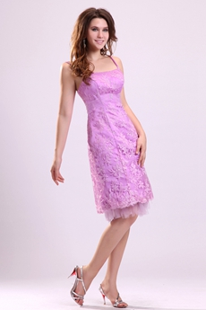 Charming Spaghetti Straps Sheath Knee Length Lilac Lace Wedding Guest Dress