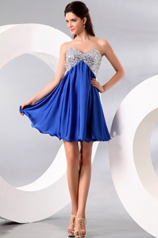Cute Sweetheart Empire Mini Length Royal Blue & Silver Homecoming Dress