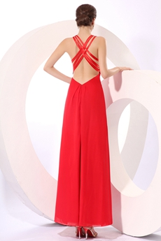Terrific Ankle Length Red Chiffon Graduation Dress High Slit