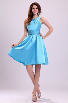 Jewel Neckline Mini Length Blue Satin Graduation Dress