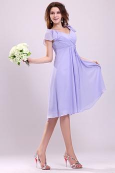 V-Neckline Short Sleeves Knee Length Lavender Maternity Bridesmaid Dress