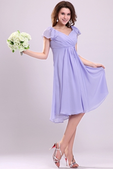 V-Neckline Short Sleeves Knee Length Lavender Maternity Bridesmaid Dress
