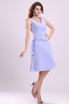 V-Neckline A-line Knee Length Lavender Junior Bridesmaid Dress