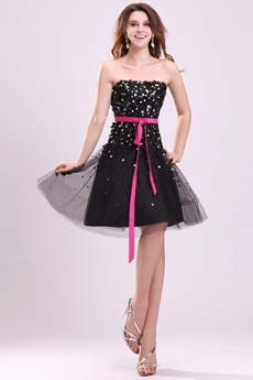 Strapless A-line Mini Length Black Sequined Homecoming Dress With Fuchsia Sash
