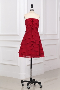 Stylish Strapless Tiered Chiffon Red Homecoming Dress