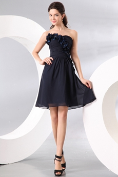 Delicate Strapless Mini Length Dark Navy Chiffon Wedding Guest Dress