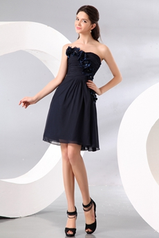 Delicate Strapless Mini Length Dark Navy Chiffon Wedding Guest Dress