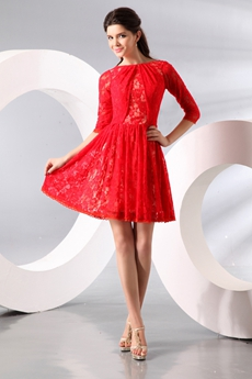 3/4 Sleeves Jewel Neckline Mini Length Red Lace Homecoming Dress
