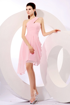 Beautiful One Shoulder Pink Chiffon Homecoming Dress
