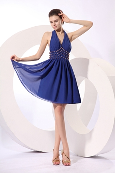 Short Length Top Halter Chiffon Royal Blue Cocktail Dress