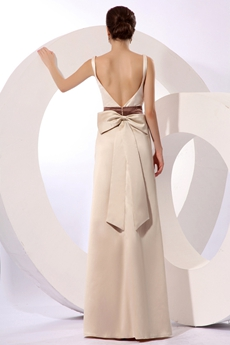 Fantastic Open Back Champagne Evening Dress With Sash