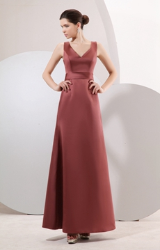 Affordable V-Neckline A-line Ankle Length Maroon Mother Of The Bride Dress
