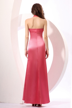 Affordable Ankle Length Halter Watermelon Colored Bridesmaid Dress