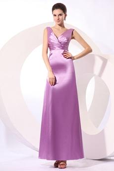 Classical V-Neckline Ankle Length Lilac Bridesmaid Dress