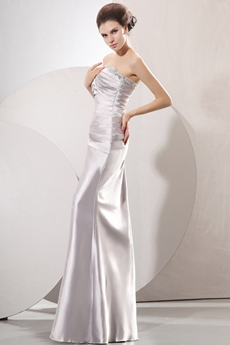 Affordable Sweetheart Column Full Length Silver Satin Junior Prom Gown