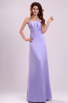 Affordable Double Straps Column Floor Length Lavender Satin Bridesmaid Dress