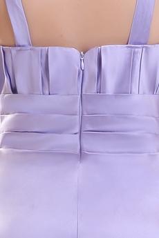 Affordable Double Straps Column Floor Length Lavender Satin Bridesmaid Dress