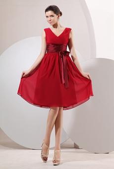 Modest V-Neckline Knee Length Red Chiffon Wedding Guest Dress